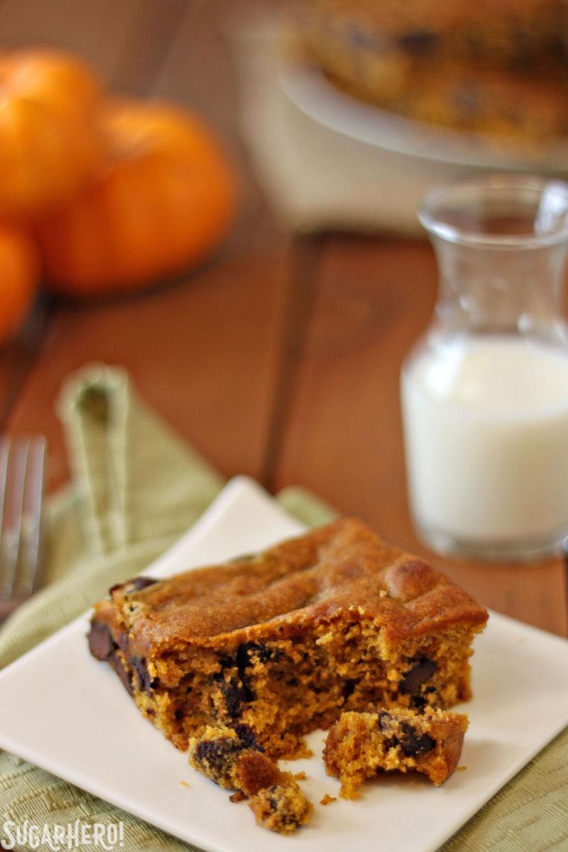 Pumpkin Chocolate Chip Bars | From SugarHero.com