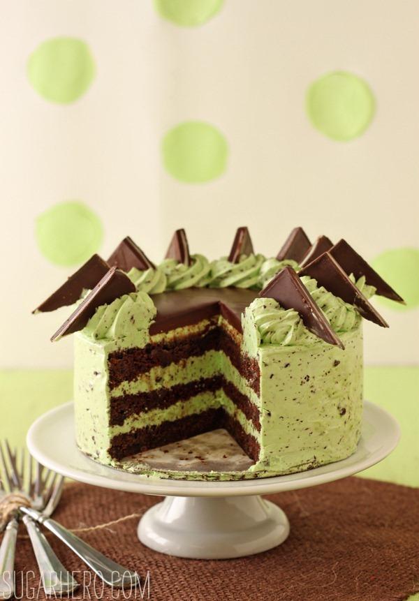 Mint Chocolate Chip Layer Cake | SugarHero.com