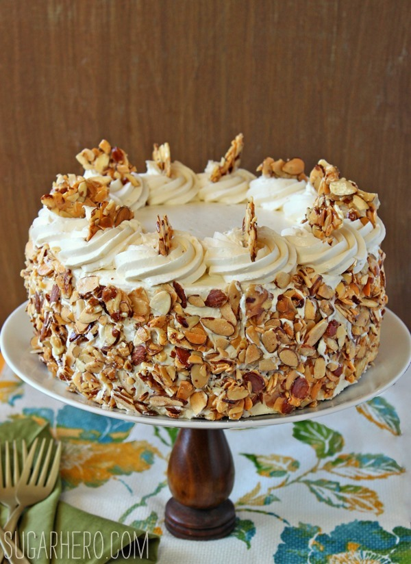 ... almond cake! It features fluffy almond cake, almond pastry cream, and