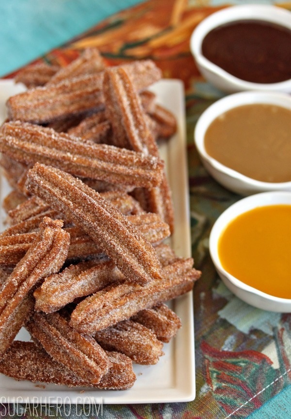Churros With Three Dipping Sauces | SugarHero.com