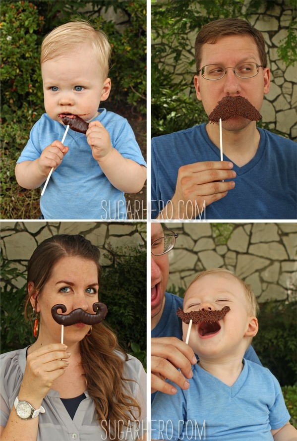 Chocolate Mustache Pops | SugarHero.com