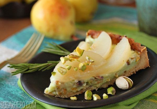 Pear Pistachio Tart | SugarHero.com
