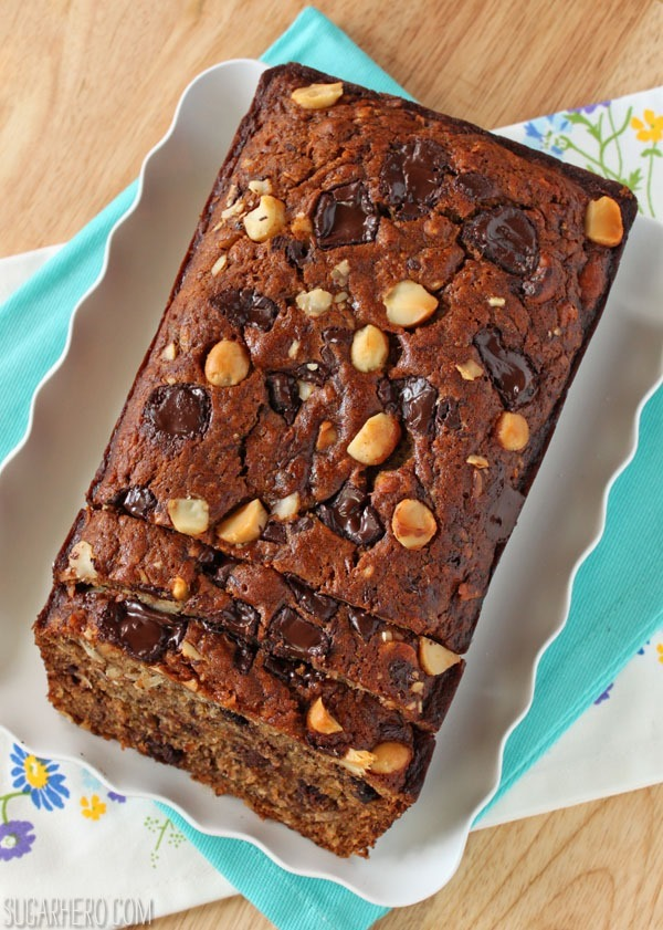 Banana Coconut Macadamia Nut Bread | SugarHero.com