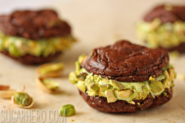 Chocolate Pistachio Sandwich Cookies | SugarHero.com