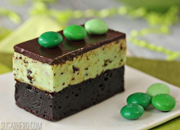 Mint Chocolate Chip Mousse Brownies | SugarHero.com