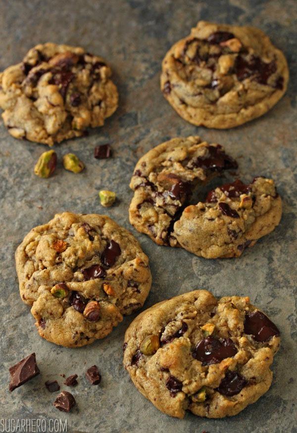 Pistachio Chocolate Chunk Cookies | SugarHero.com
