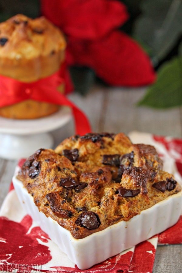 Pannetone Bread Pudding with Eggnog Crème Anglaise | SugarHero.com