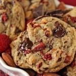Raspberry Almond Chocolate Chunk Cookies