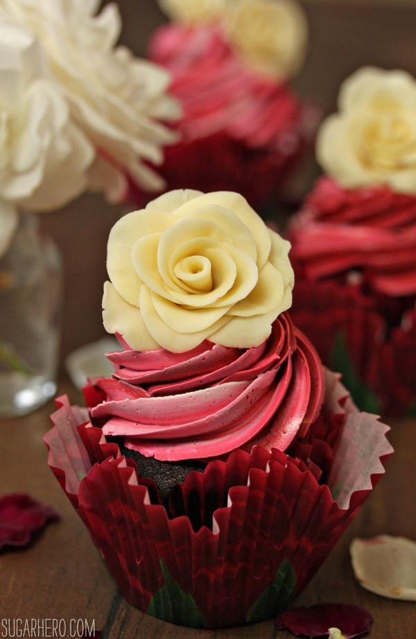 Chocolate Rose Cupcakes | SugarHero.com