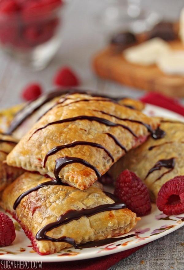 Raspberry, Brie, and Chocolate Puff Pastries | SugarHero.com