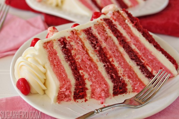 Sky-High Pink and Red Velvet Cake | SugarHero.com