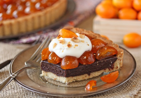 Chocolate Tart with Candied Kumquats | SugarHero.com