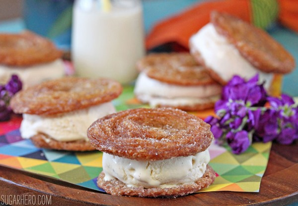 Churro Ice Cream Sandwiches | From SugarHero.com