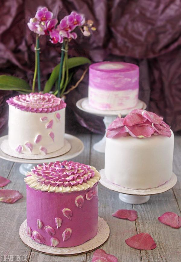 Mini Cake Design Ideas : Radiant Orchid Mini Cakes - SugarHero