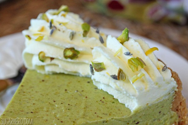 Pistachio Pie with Lemon Whipped Cream | From SugarHero.com