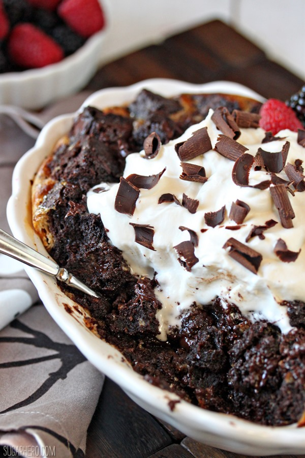 Brownie Bread Pudding | From SugarHero.com..