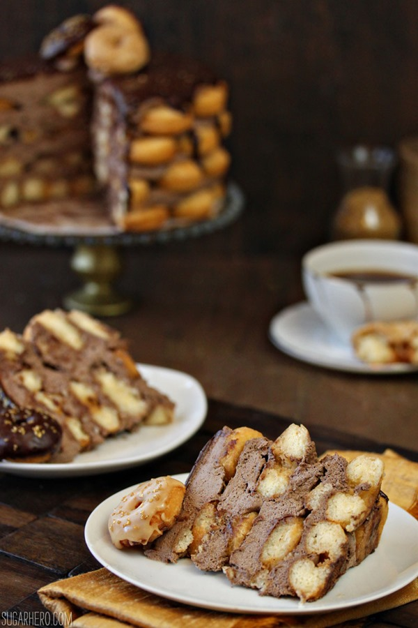 Doughnut Cake With Mocha Whipped Cream | From SugarHero.com