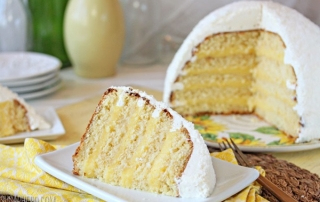 Lemon Coconut Snowball Cake   From SugarHero.com