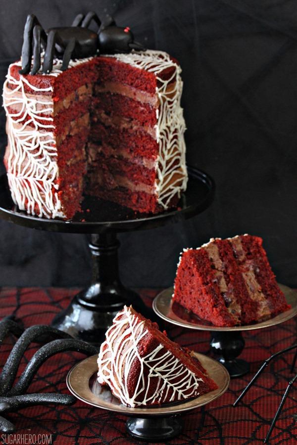 Spiderweb Naked Red Velvet Cake   From SugarHero.com