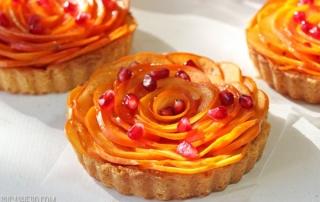 Persimmon Almond Rosette Tart | From SugarHero.com