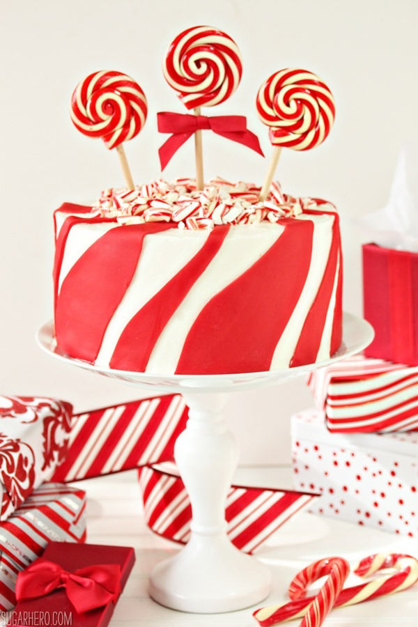 Candy Cane Chocolate Cake | From SugarHero.com