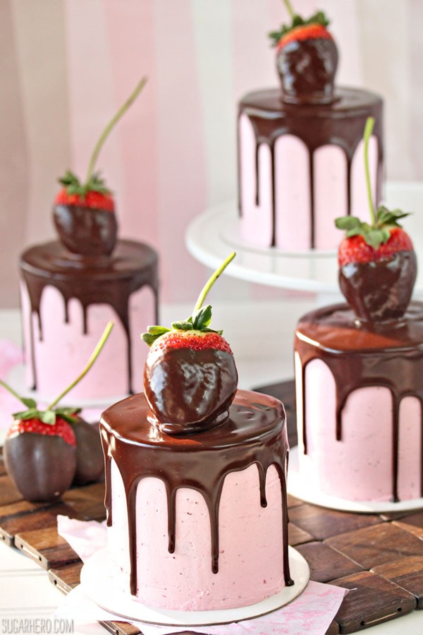 Chocolate-Covered Strawberry Cakes | From SugarHero.com