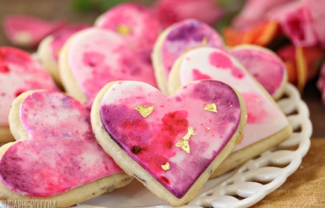 Watercolor Rose Sugar Cookies | From SugarHero.com