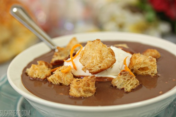 Chocolate Soup With Croissant Croutons and Whipped Creme Fraiche | From SugarHero.com