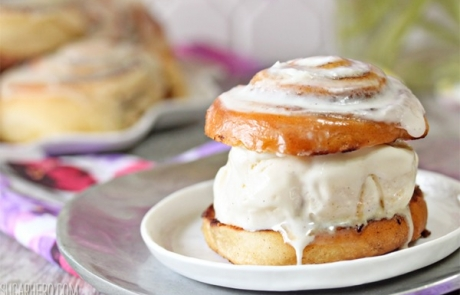 Cinnamon Roll Ice Cream Sandwiches | From SugarHero.com