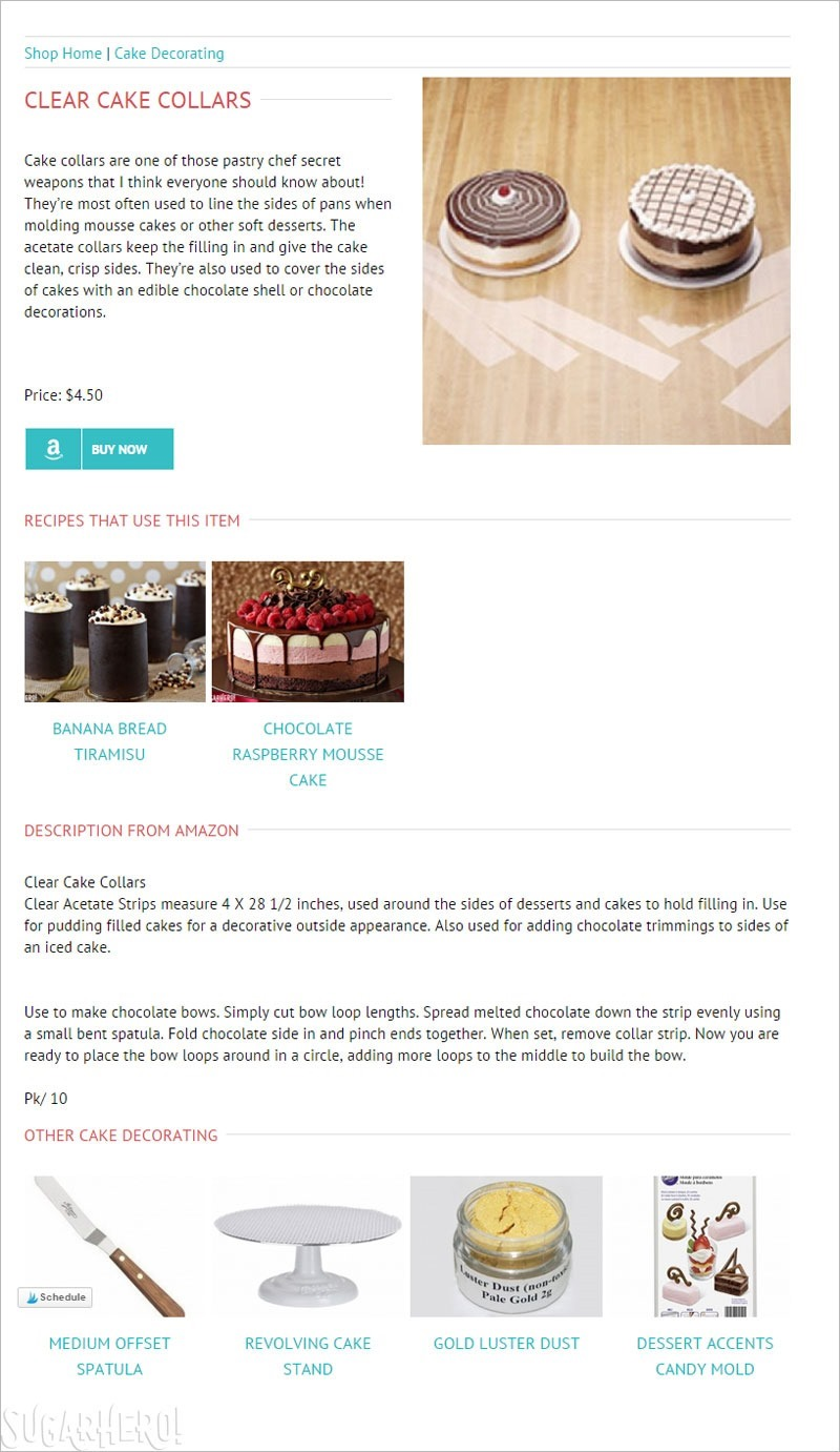 SugarHero Shop Item Pages