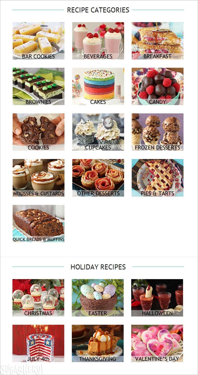 SugarHero recipe categories