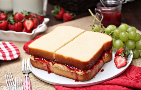 Peanut Butter and Jelly Sandwich Cake | From SugarHero.com