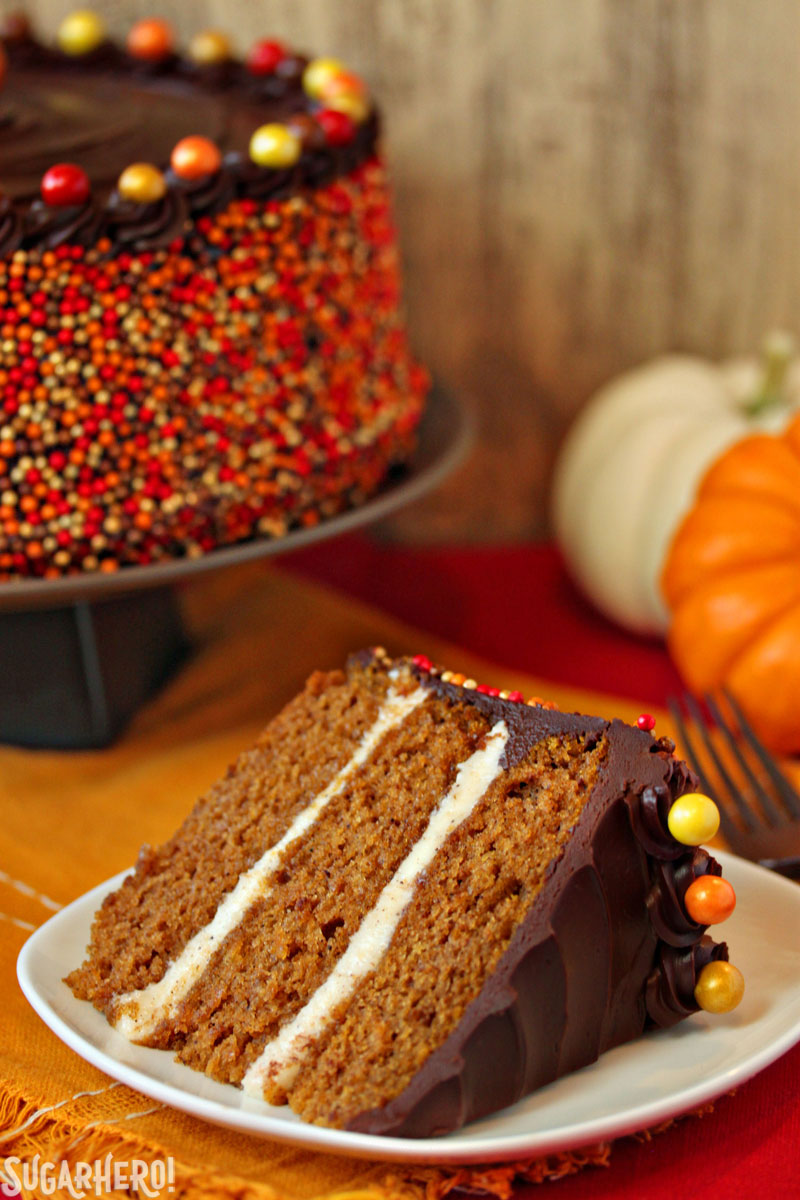 Pumpkin Layer Cake with Chocolate Sour Cream Frosting